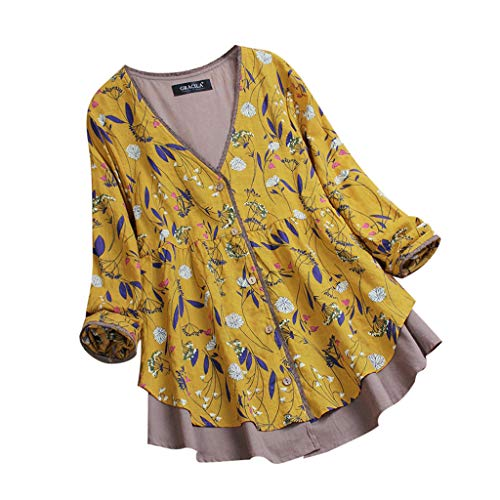 TOTOD Women Tops! Plus Size Womens Vintage Floral Print Patchwork 3/4 Sleeve Long Sleeves Blouses Top Shirt