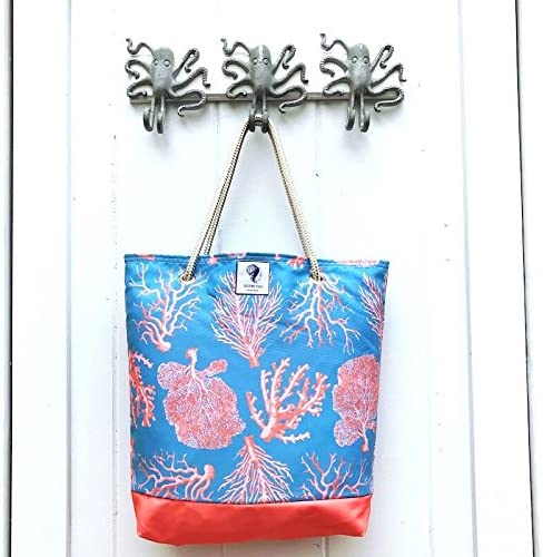 Women Turtles Corals Pattern Large Tote Bag Shoulder Bag Lightweight For Gym Hiking Picnic Travel Beach Waterproof Handbag