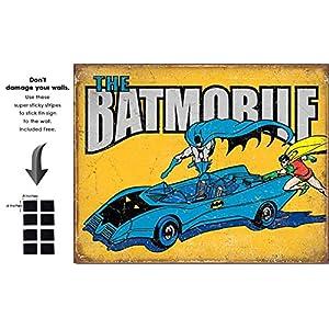 Shop72 Tin Sign DC Comic Series Batmobile Metal Tin Sign Retro Vintage - With Sticky Stripes . No Damage to Walls