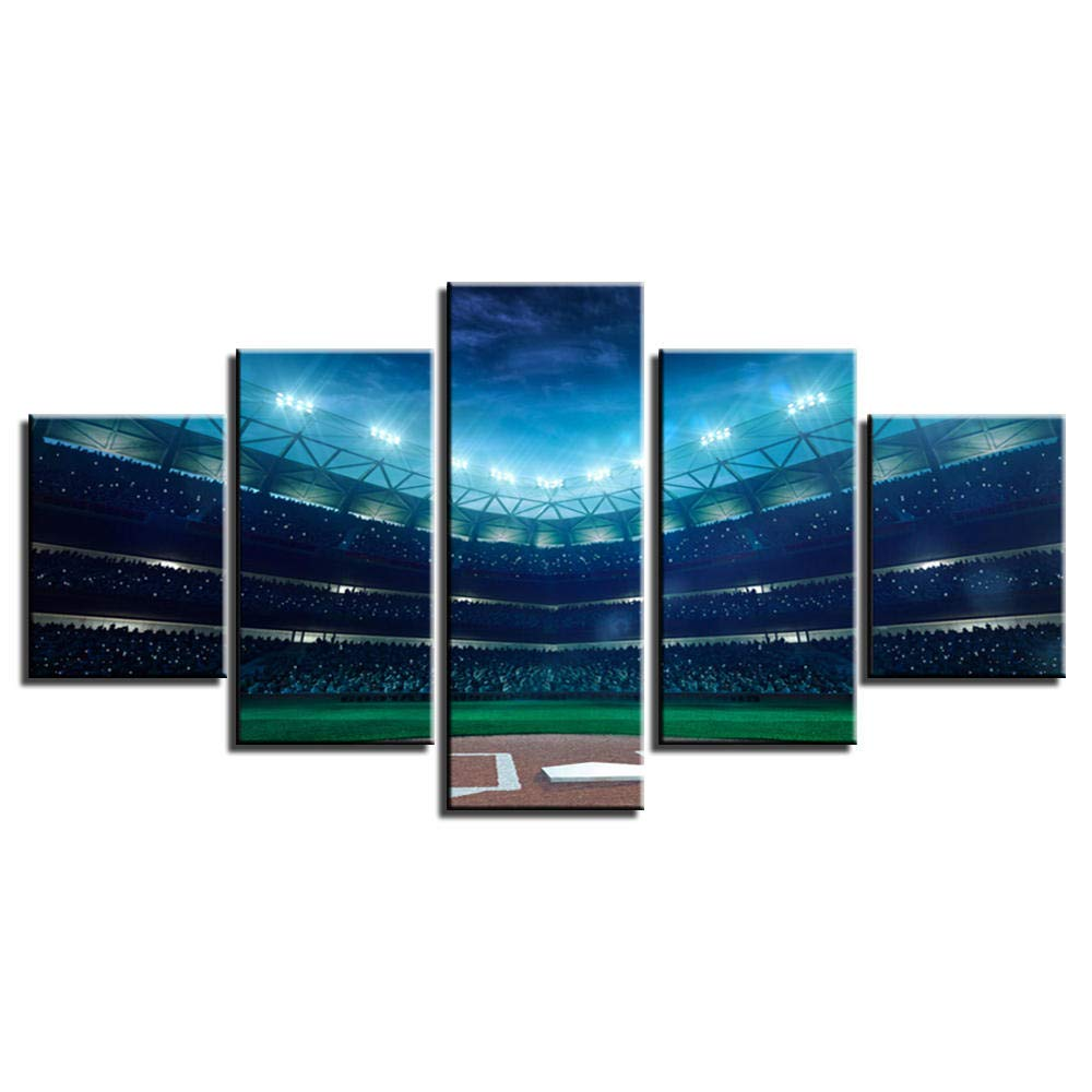 Canvas Art Sports Picture Green Baseball Field Poster Painting Mural Home Decor HD Print 5 Piece Living Room - x6/8/10inch, Withframe