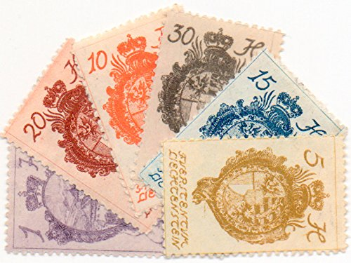 Liechtenstein Postage Stamp Set 1920 Coat Of Arms Issue Scott #'s32,33,34,35,37,42 ()