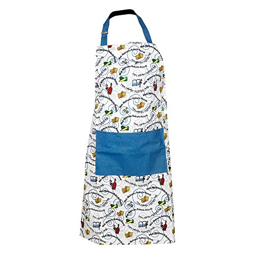 (The Kosher Cook Passover Kitchen Apron - Mah Nishtana Four Questions Print Design - 100% Cotton, 24 x 35 - Pesach Seder and Kitchen Accessories)