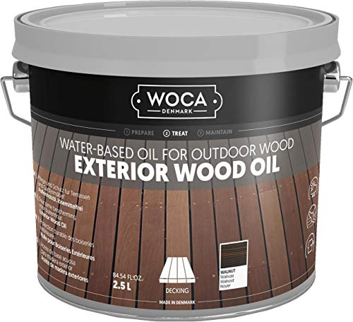 - WOCA Denmark - Environmentally Friendly Exterior Wood Oil - Water-Based Oil for Outdoor Wood (Walnut)