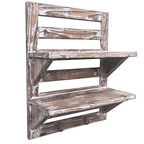 Rustic Wood Wall Shelves by Carlton Lane. 2-Tier Storage Rack with Hooks. Handmade from 100% Recyclable Wood for Authentic Vintage Country Aged Look. Upgraded Wood Thickness and Increased Shelf-Space.