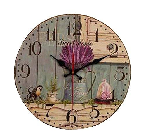 Wall Clock Flower Vintage Home Cafe Bar Decoration - 9