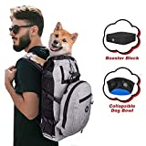PROPLUMS Dog Carrier Backpack for Small and Medium Dogs Multifunction Pet Sport Sack Air for Walking Hiking and Traveling with Detachable Storage Bag Free Booster Block and Collapsible Dog Bowls(L)