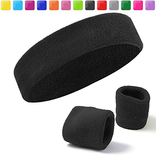 Acokac Sweatband Set, Cotton Headband/Wristbands for Men Women Girls Boys and Youth, Athletic Headbands Fit for Sports activities, Running, Yoga, Basketball, Football, Cycling, Gym – DiZiSports Store