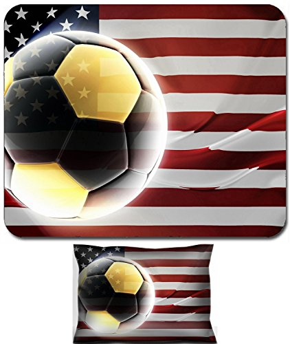Luxlady Mouse Wrist Rest and Small Mousepad Set, 2pc Wrist Support design Flag of United States of America national country symbol illustration wavy fabric sports soccer football IMAGE: (America Fabric Ball)