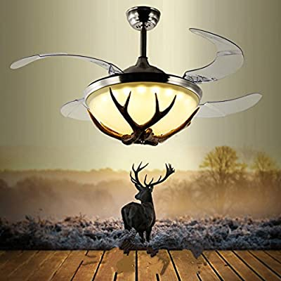 """Lighting Groups 42"""" Ceiling Fans Invisible LED Ceiling Fan Lamp Modern Resin Fan Light Industrial Retro Restaurant Antlers Chandelier with Remote Control, Ceiling Fan Light Kits for Bedroom"""