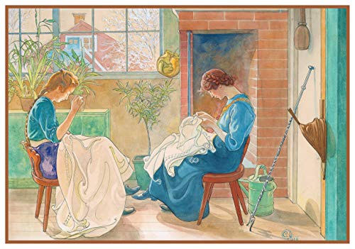 Orenco Originals Swedish Carl Larsson Two Girls Sewing in The Garden Counted Cross Stitch Pattern ()