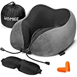 HOMIEE Travel Pillow Neck Support Pillow Memory Foam Cushion Essentials with Sleep Mask, Earplugs -Portable Storage Bag Included, Ideal for Travelling and Flights (Grey)