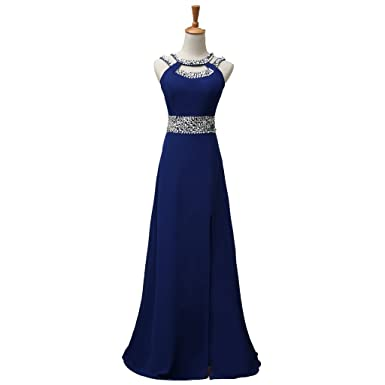 MLT Womens Chiffon Sequins Strapless Weddiing Bridal Gown Party Prom Dresses (6, Blue)