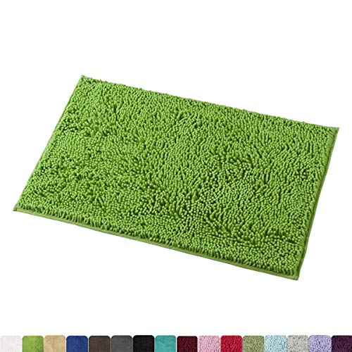 MAYSHINE 20x32 inch Non-Slip Bathroom Rug Shag Shower Mat Machine-Washable Bath mats with Water Absorbent Soft Microfibers of - Green (Rug Shag Green)