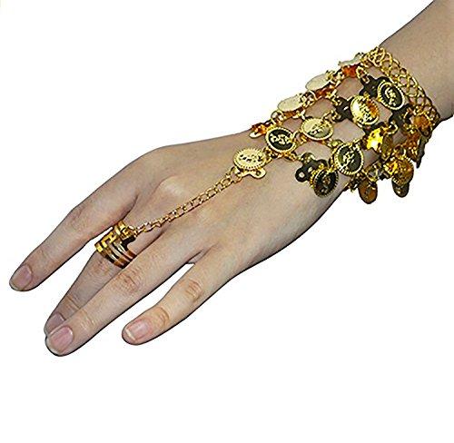 REINDEAR Vogue Style Chiffon Dangling Gold Coins Belly Dance Hip Scarf US Seller (Bracelet)