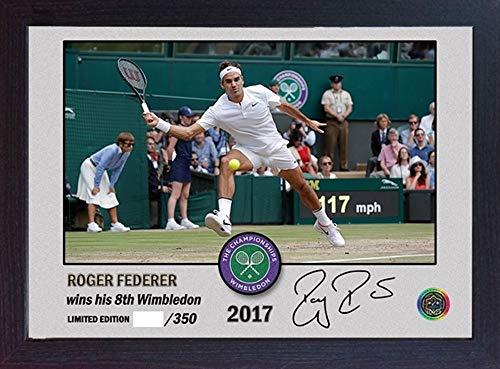(S&E DESING Roger Federer Signed Autograph Championships Wimbledon Photo Print Framed MDF)