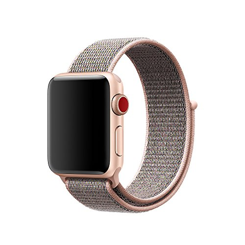 Smart Watch Band Pink Sand Sport Loop, Uitee Newest Woven Nylon Band for Apple Watch Series 38mm 3/2/1 , Comfortably Light With Fabric-Like Feel Wrist Strap Replacement with Classic Buckle (Way 3 Rule)