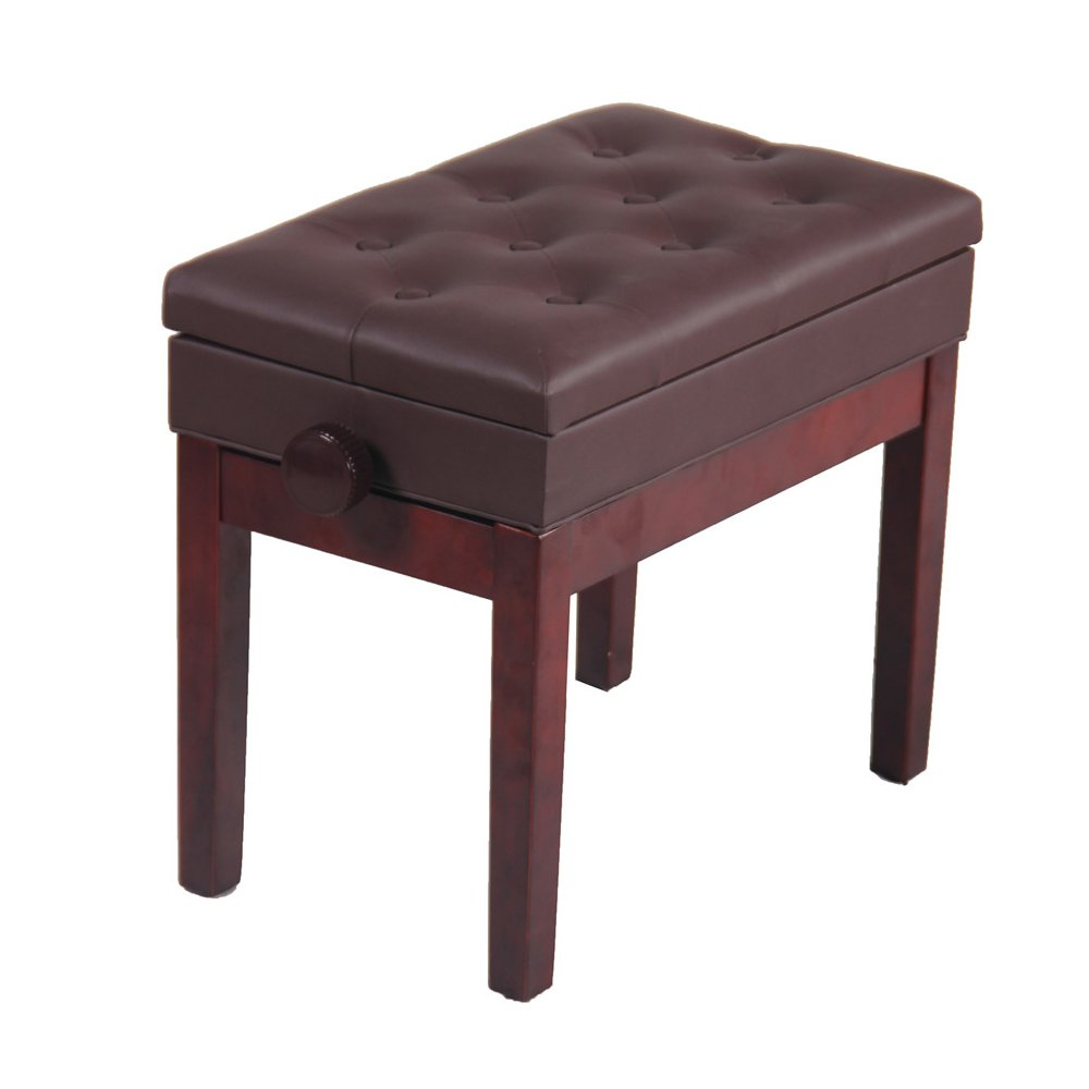 Kuyal Adjustable Height Piano Bench, Piano Keyboard Leather Stool Seat, Padded Electronic Piano Bench With Book/Music Storage Brown