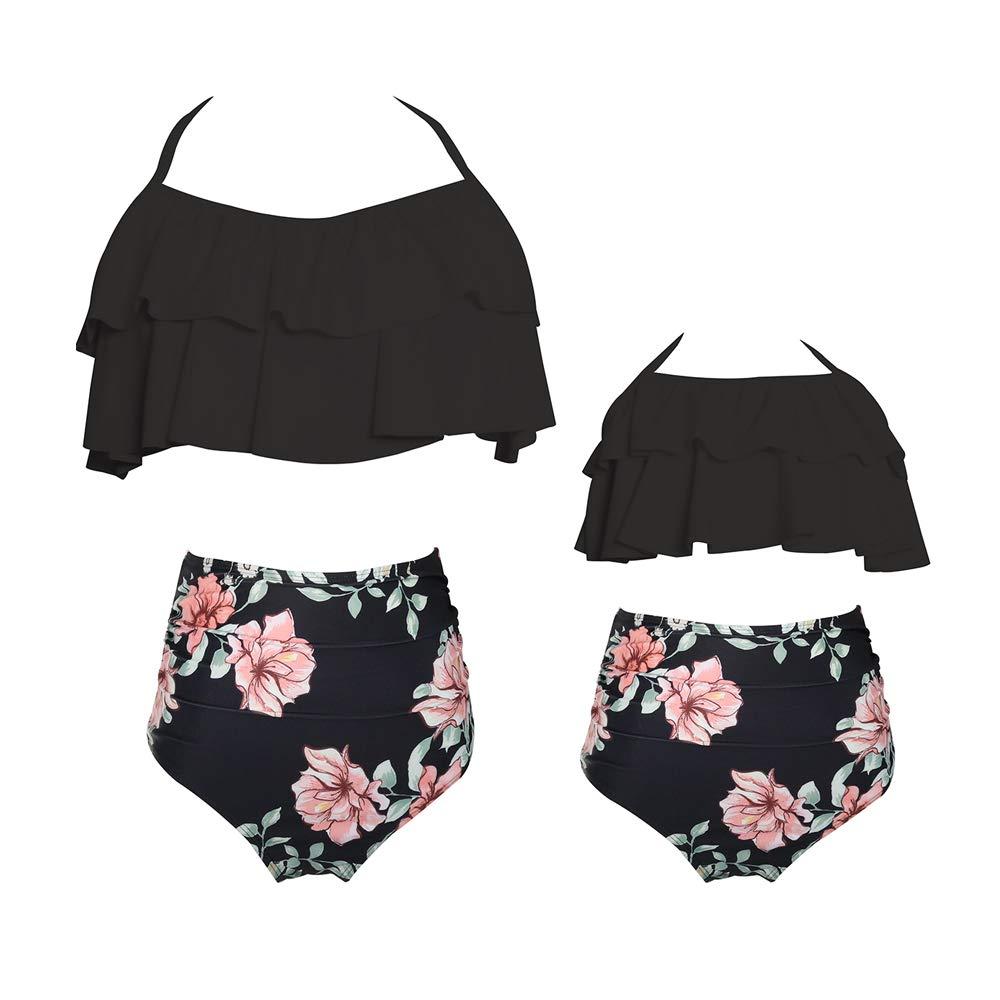 2Pcs Matching Family Swimsuit Women's Girls High Waist Ruffle Swimwear Beachwear Kids Children Bikini Set Bathing Suit (9-10 T, Black Flowers)