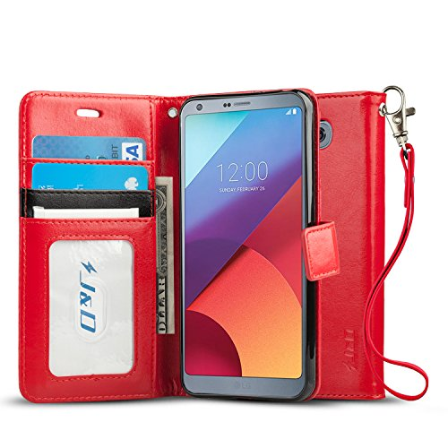 J&D Case Compatible for LG G6 / LG G6 Plus Case, [Wallet Stand] [Slim Fit] Heavy Duty Protective Shock Resistant Flip Cover Wallet Case for LG G6 Plus, LG G6 Wallet Case - Red
