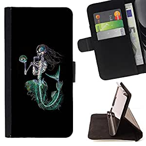 BullDog Case - FOR/Samsung Galaxy Core Prime / - / MERMAID DEATH SKELETON BLACK GREEN /- Monedero de cuero de la PU Llevar cubierta de la caja con el ID Credit Card Slots Flip funda de cuer