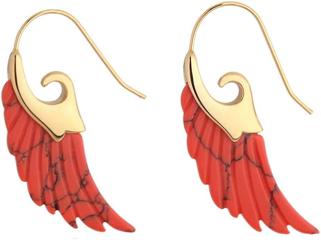 Pendientes largos y coloridos únicos Pendientes colgantes de plumas de piedra natural para mujeres Pendientes Oro Elegante regalo