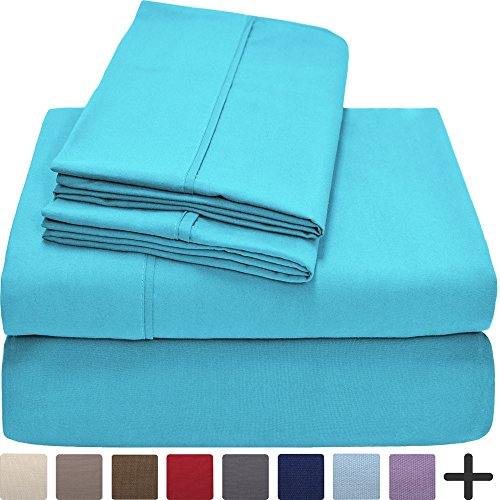 Premium 1800 Ultra-Soft Microfiber Collection Sheet Set - Double Brushed - Hypoallergenic - Wrinkle Resistant - Deep Pocket (Queen, Aqua) Aqua Sheet Set