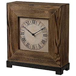 Sterling 26-8659 Veneer Wood Renwick Desk Clock with Silver Blackened, 15-Inch, Halesite