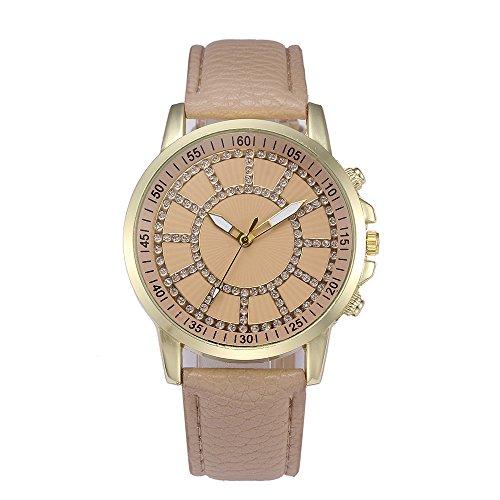 Women Retro Digital Dial Leather Band Quartz Analog Wrist Watch Watches - Beige Dial Rubber Strap