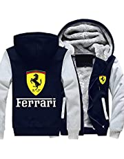 Men's Jacket Fer-r_ari Windproof Thickened Plus Velvety Warmth with Fleece Inside Winter Sports top