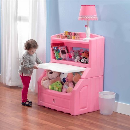 Lift and Hide Bookcase Storage Chest, Pink, Holds books up to 10'' High, Includes a Large Display Shelf for Toys, Permanently Attached Lid Slides Up and Stays Out of the Way, BONUS FREE E-book by Home X Style
