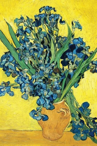 vase with irises against a yellow background vincent van gogh blue iris flower garden journal blank lined book great works of art notebooks
