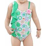 Saidi Girls Swimsuits 1-14 Years One Piece Swimwear for Toddler Kid Girl Cotton