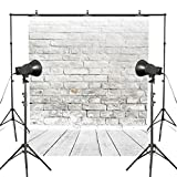 MUEEU 8x8ft Brick Wall Backdrop Wallpaper White Wooden Floor Photography Vinyl Fabric Digital Printed Portrait Birthday Wedding Photo Backgrounds for Studio Props