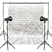 MUEEU 8x8ft White Brick Wall Wooden Floor Photography Backdrops Thin Vinyl Fabric Digital-Printed Portrait Birthday Wedding Photo Backgrounds for Studio Props