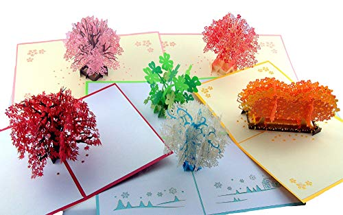 (Pop-up Handmade Greeting Cards-Snowflakes,Cherry Blossom,Maple tree,Four Leaf Clover for All Occasion Christmas Mother's Day,Birthday,New Year,Baby,Wedding,Sympathy,Thank You with Boxed 6 Packs)
