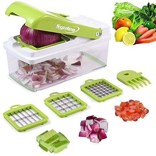 Vegetable Chopper Veggie Fruit Dicer – Syolee Food Cutter with 3...