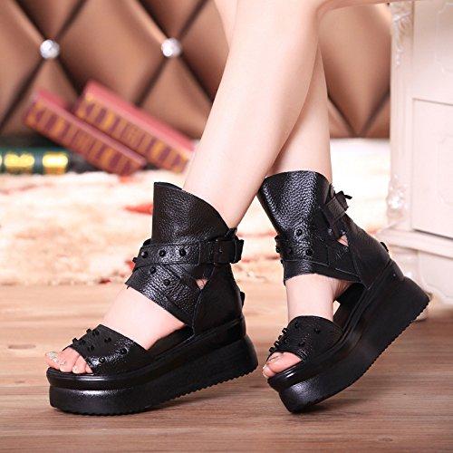 Avec five De Thirty Sandales Black De Creux Chaussures Femmes Les Prisme Épais Cuir Bas Muffin Des Rome À KHSKX TUPxwqEFn