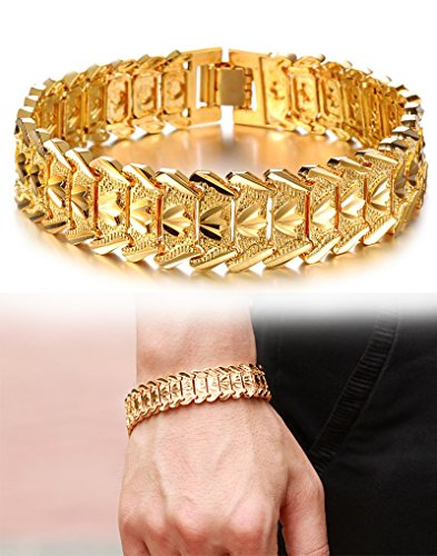 Bracelet Gold Chain Link - Suyi Men's 18K Gold Plated Link Bracelet Classic Carving Wrist Chain Link Bangle Width