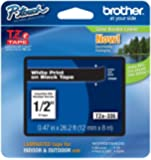 """Brother P-touch ~1/2"""" (0.47"""") White on Black Standard Laminated Tape - 26.2 ft. (8m)"""