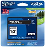 Brother Genuine P-touch Tze-335 Label Tape 1/2'' (0.47'') Standard Laminated P-touch Tape, White on Black, Laminated for Indoor or Outdoor Use, Water Resistant, 26.2 Feet (8M), Single-Pack (TZe335)