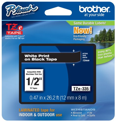 (Brother Genuine P-touch TZE-335 Label Tape, 1/2