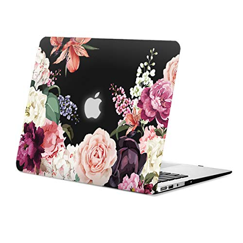 MacBook Air 13 inch Case Floral, Rose Flower Clear Case for MacBook Air 13 inches Model:A1466/A1369, Rubberized Soft-Touch Matte Black See Through Hard Shell Case & Keyboard Cover ()