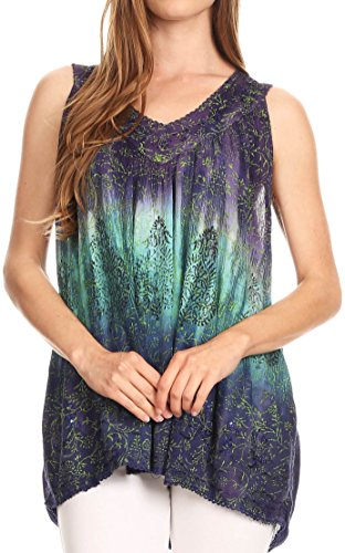 Sakkas 17805 - Freya Dip Dyed Tie Dye Tank with Sequins and Embroidery - Purple - OSP