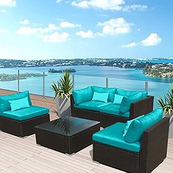 Modenzi 5G U Outdoor Sectional Patio Furniture Espresso Brown Wicker Sofa  Set (Turquoise)