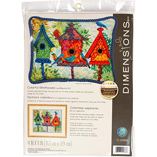 (Dimensions Colorful Birdhouse Needlepoint Kit, 14 Mesh Printed Canvas, 11'' x 14'')