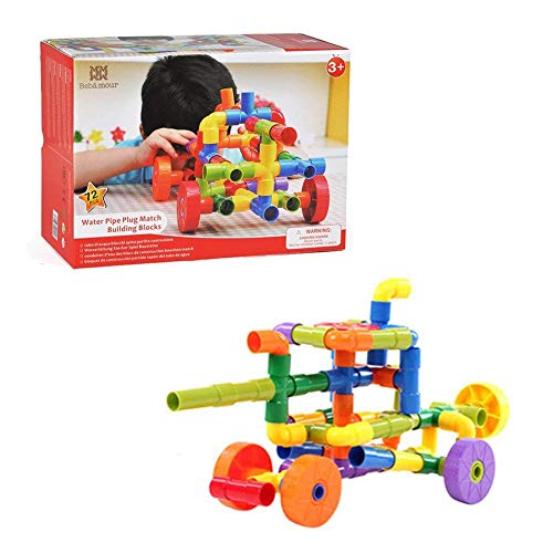 Bebamour Builder Toys Tube Locks Set 72 Pcs with Wheels Water Pipe Plug Building Interlocking Set Toys for Toddlers and Preschool Kids Montessori Toys for Learning Colors