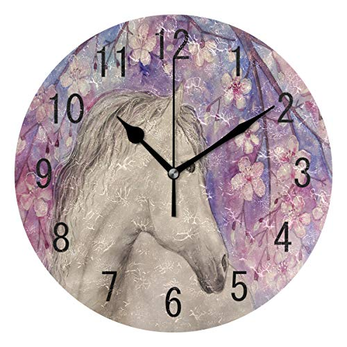 ALAZA Home Decor Beautiful Horse Cherry Blossom Sakura Round Acrylic Wall Clock Non Ticking Silent Clock Art for Living Room Kitchen Bedroom ()