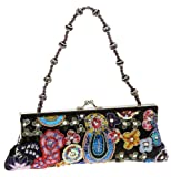 La Regale 21537 Framed Oriental Design with Bead Handle,Black Multi,