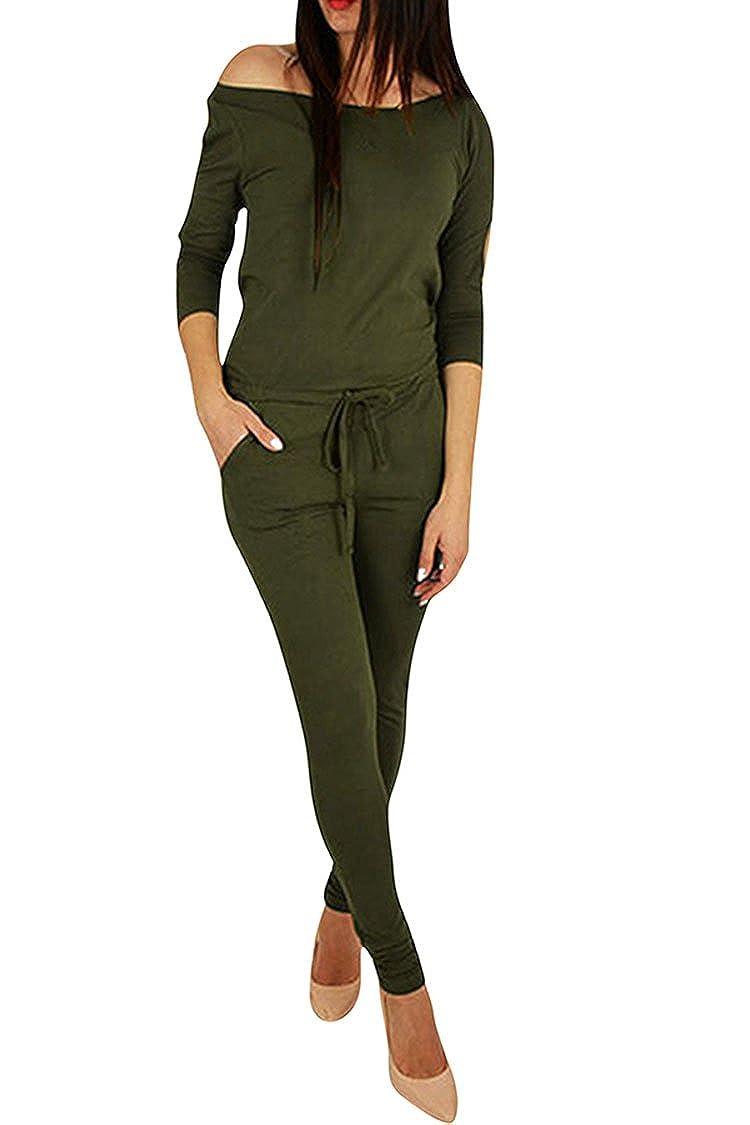 Fixmatti Women Off Shoulder Hollow Out 3/4 Sleeve Waisted Jumpsuit Romper 1PC FM-JP188