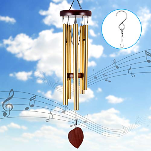 Kearui Wind Chime, Wind Chimes for Outside Deep Tone, Amazing Windchimes Gifts for Mom Grandma Birthday Gifts for Women Mom, with 5 Aluminum Tubes Wooden Wind Bell Decorative Patio Garden Outdoor